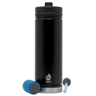 Thermosflasche V7 360 Filter Kit - Isolierflasche aus doppelwandigem Edelstahl - für kalte und heiße Getränke - mit Wasserfilter und Strohhalmfunktion.
