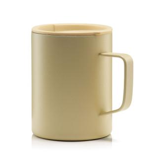 Doppelwandiger MIZU CAMP CUP sand - Becher aus Edelstahl. Coffe to go Tasse - Isolierbecher ocker-hellbraun mit Deckel 400 ml. Campingbecher, Outdoorbecher, Kaffeebecher ...