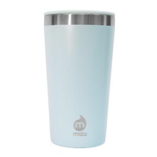 To go Trinkbecher T16 ice blue von MIZU: doppelwandiger Thermobecher 0,45 l aus Edelstahl in hellblau für Kaffee, Tee, Säfte und mehr.