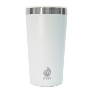 To go Becher T16 weiß von MIZU: doppelwandiger Thermobecher 450 ml aus Edelstahl in blau für Kaffee, Tee, Säfte und mehr.