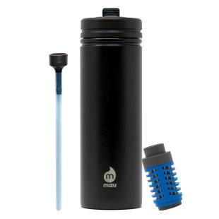 Schwarze Trinkflasche M9 360 KIT Edelstahl: Flasche + Strohhalm und Wasserfilter. M9 Edelstahlflasche mit Filter.
