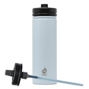 MIZU Trinkflasche M9 aus Edelstahl mit Schnellverschlussdeckel und Strohhalm. Edelstahlflasche in ice blau mit 0,9 l Volumen.