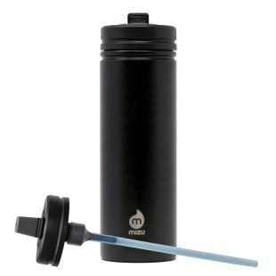 MIZU M9 Trinkflasche mit Straw Lid. Trinkflasche aus Edelstahl von MIZU in der Farbe schwarz.