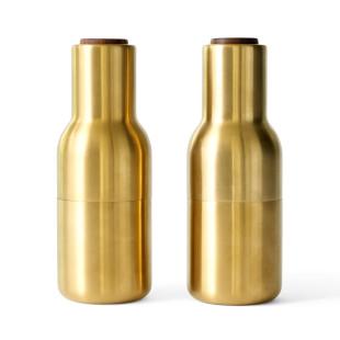 MENU Gewürzmühlen Set BOTTLE GRINDER in Messing gebürstet. Deluxe Pfeffermühle / Salzmühle in Flaschenform. MENU Design Gewürzmühlen gold.
