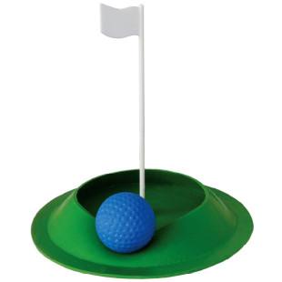 Mobiles Minigolf Zielloch Floppy in grün mit weißem Fähnchen aus Kunststoff. Kleines Zielloch von MyMinigolf.