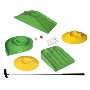 Schneller Minigolfspaß für überall - mobiles Minigolfspiel von MyMinigolf. Minigolf-Set easy+. Minigolfhindernisse, Schläger ...