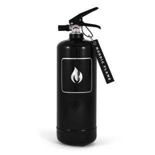 Design Feuerlöscher Nordic Flame. Schwarzer Feuerlöscher mit silberner Flamme. Sicherheit für ihr Zuhause hier kaufen!