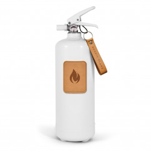 nordic flame Design Feuerlöscher, leather edition. Weißer Design Feuerlöscher 2 kg mit Leder Emblem und Wandhalterung. Moderne Brandbekämpfung für ihr Zuhause.