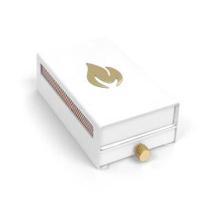Nordic Flames Streichholzbox MATCHBOX weiß. Aufbewahrung von neuen und abgebrannten Zündhölzern.