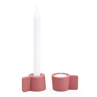 Kerzenständer und Teelichthalter Silly 2er-Set, rot