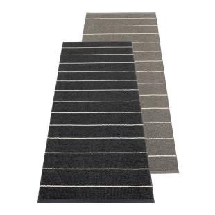 Outdoor Pappelina Teppichläufer CARL black / charcoal. Design Wendeteppich gestreift schwarz / anthrazit grau.