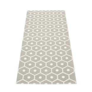 Teppichläufer HONEY hellgrau - vanille Pappelina - Outdoor Teppich. Wendeteppich geflochten Wabendesign. Aussenbereich - Design Kunststoffteppich grau.