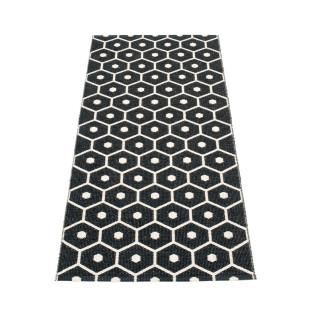 Teppichläufer HONEY black/vanille Pappelina für In- und Outdoor. Wendeteppich sechseckige Waben. Aussenbereich - Design Kunststoffteppich geflochten schwarz.