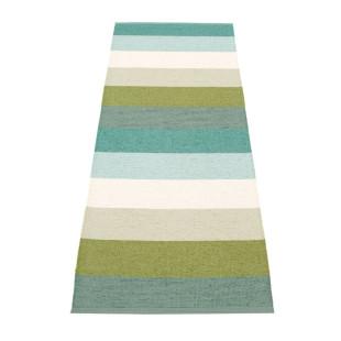 Gestreifter Teppichläufer MOLLY grün/blau Pappelina. Teppich FOREST mit breiten Streifenmuster. Teppich Kunststoff In- und Outdoor.