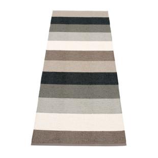 Gestreifter Teppichläufer MOLLY grau / schwarz Pappelina. Teppich SUNSET mit breiten Streifenmuster. Teppich Kunststoff In- und Outdoor.