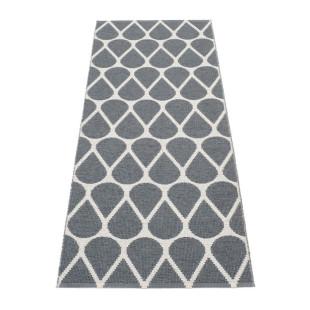 Teppichläufer OTIS 140 x 70 cm grau von Pappelina. Kunststoff Wendeteppich mit Tropfenform-Motiv. Teppich für draussen & drinnen.