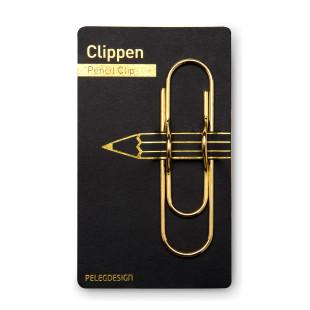 Clippen Stifte-Clip für Notizbücher. Goldene XL Büroklammer mit Aussparung für einen Stift von Peleg Design.