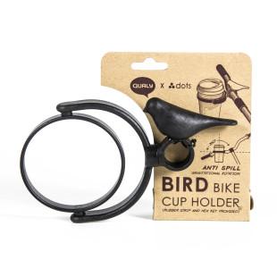 Fahrrad Coffee to go Becherhalter. Bird Bike Cup Holder QUALY Design. Schwarzer Vogel Fahrrad Getränkebecherhalter.