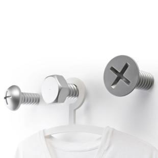 XXL Schrauben Garderobe von Qualy Design - SCREW Wall Hook silber - 3er Set