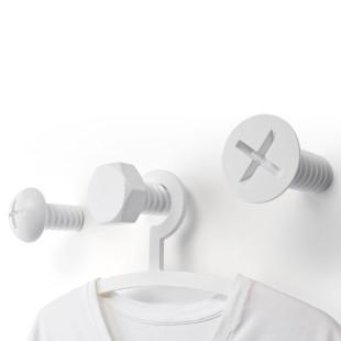 XXL Schrauben Garderobe von Qualy Design - Wandhaken SCREW Wall Hook weiß - 3er Set