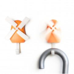Garderobenhaken Windmühle orange Qualy Design. Design Wandhaken Windmühle - Wall Hook Windmill.