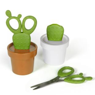 Kaktus Papierschere von Qualy Design - Moodbild Modell weiß und orange.