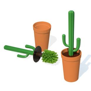 Kaktus Toilettenbürste / WC-Bürste von QUALY Design. Kaktee mit grünem Bürstenkopf im orangen Blumentopf.