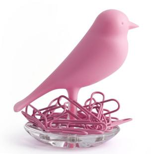 Magnethalter / Büroklammernhalter Nest Sparrow pink