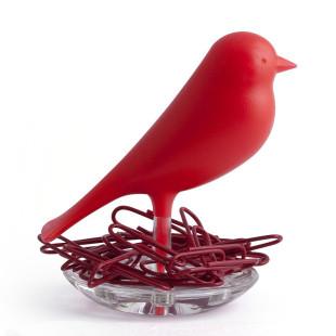 Magnethalter / Büroklammernhalter Nest Sparrow rot