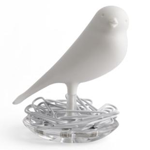 Magnethalter / Büroklammernhalter Nest Sparrow weiß
