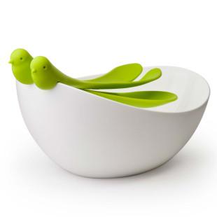 Salatschale mit Spatzen-Salatbesteck grün