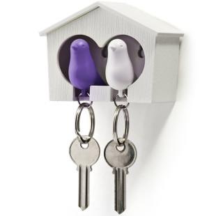 Schlüsselanhänger Duo Sparrow weiß/lila