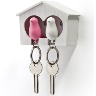 Schlüsselanhänger Duo Sparrow weiß/pink