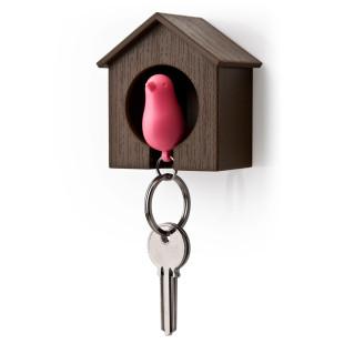 Schlüsselanhänger Sparrow braun/pink