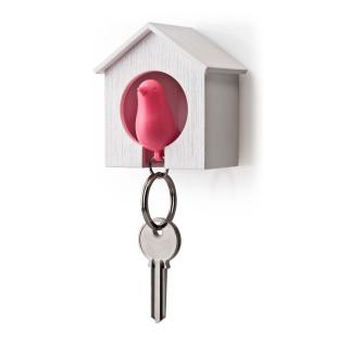 Schlüsselanhänger Sparrow weiß/pink