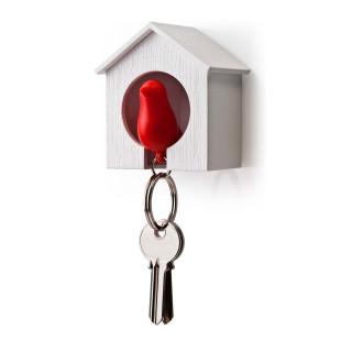 Schlüsselanhänger Sparrow weiß/rot