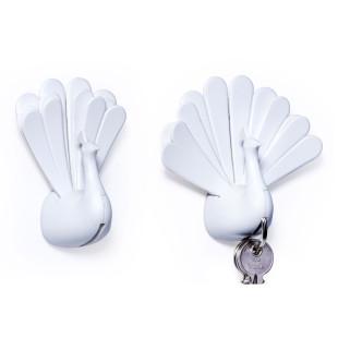 Schlüsselhalter Pfau - Peacock weiß