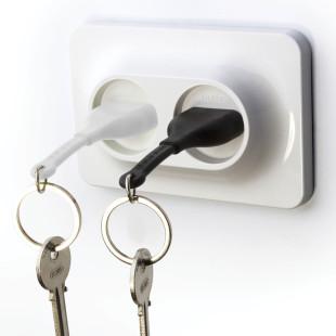 Schlüsselhalter Steckdose Double Unplug schwarz-weiß