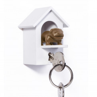 WATCHDOG von Qualy Design! Schlüsselanhänger Hundehäuschen mit Wachhund braun. Design Schlüsselhalter.