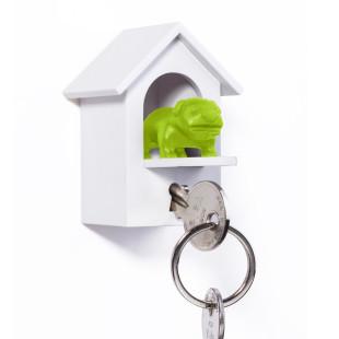 WATCHDOG von Qualy Design! Schlüsselanhänger Hundehäuschen mit Wachhund grün. Design Schlüsselhalter.