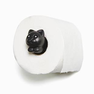 Schwarzer Toilettenpapierspender im Katzen-Look: ROLL MEO von Qualy Design. Juliet Katzen WC-Rollenhalter hier kaufen!