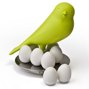 Vogel Magnethalter Egg Sparrow in grün von Qualy Design. 8 Eier Magnete mit Spatz-Haltung.