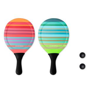 Das bunte Beach Tennis-Set von Remember Design - ein Riesenspaß für Groß und Klein! Leichtes Beach-Tennisset.