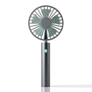 FLOW Handventilator graphit mit schwenkbarem Kopf. Akku Handlüfter grau-mint mit USB. Tragbarer Ventilator + Standfuß. Grauer Design Ventilator.