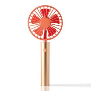FLOW Handventilator orange mit schwenkbarem Kopf. Akku Handlüfter kupfer-orange mit USB. Tragbarer Ventilator + Standfuß. Design Ventilator.