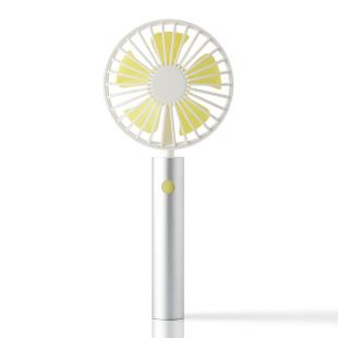 FLOW Handventilator silver mit schwenkbarem Kopf. Akku Handlüfter silber lime. Tragbarer Ventilator + Standfuß. Silberner USB Design Ventilator.