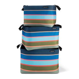 Leicht, robust, farbenfroh! Das praktische Korbset COSTA von Remember Design. 3 bunt gestreifte Körbe grün-blau.