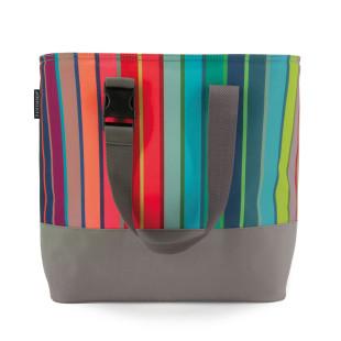 Bunt gestreifte Kühltasche von Remember Design. Die stabile Kühltasche mit Tragegurt. Modell COSTA von Remember.