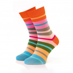 Bunt gestreifter Damen Socken #07 von Remember Design.  Ringelsocken bunt gestreift. Frauen Design Fashionsocken bunt Gr. 36-41