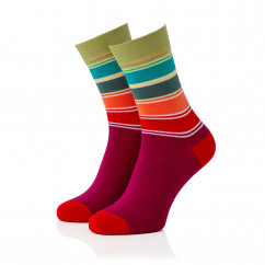 Bunt gestreifter Damen Socken #09 von Remember Design.  Ringelsocken bunt gestreift. Frauen Design Fashionsocken bunt Gr. 36-41